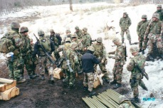 My Marines assemble Bangalore torpedoes on Mount Fuji in Japan. Winter 2001.